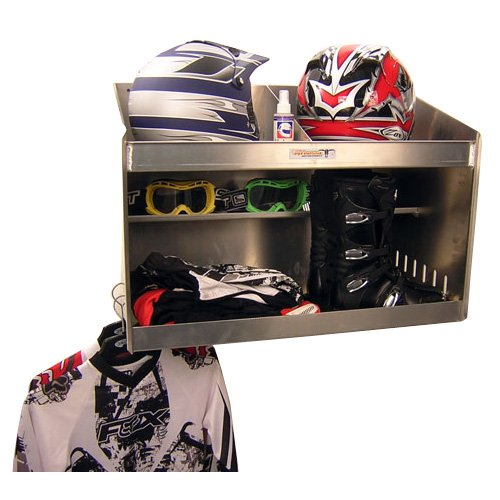 (Pit Posse Deluxe Dual Helmet Bay Shelf Holder Aluminum Enclosed Race Trailer Shop Garage Storage Organizer (Silver))