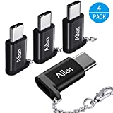 Type C Adapter,Micro USB to USB C Adapter,[4Pack]by Ailun,Small with Keychain,Sync and Charge,for MacBook,ChromeBook Pixel,Nexus 5X,Nexus 6P,Nokia N1 and Other Type C cable Devices[Black]