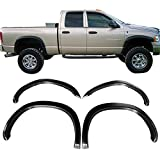 Fender Flares Fits 2002-2008 Dodge Ram 1500 And 2003-2009 Ram 2500 3500 | OE Style Matte Black Finish PP Wheel Cover Protector Vent Trim by IKON MOTORSPORTS | 2003 2004 2005 2006 2007