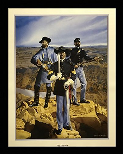 Black 1.5 inch Framed with The Sentinel, (Buffalo Soldier/African American Black Art / 3 (I) - 22x28-25) 22x28 Inch Edward Clay Wright, Art Print & ()