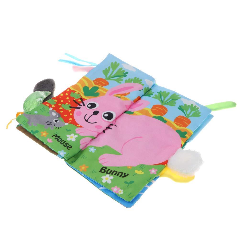 Homyl Libro de Tela Suave Patr/ón de Animales de Dibujos Animados con Cola de Peluche 3D Juego Cognitivo para Beb/és Ni/ños