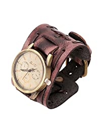 Casual Leather Watch Rope Bracelet Wristband Cuff Watch Gift for Him for Her