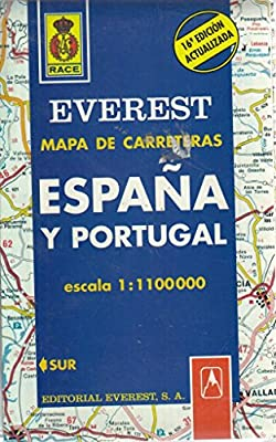 Mapa de carreteras de España y Portugal. 1:1.100.000 Mapas de carreteras: Amazon.es: Cartografía Everest: Libros