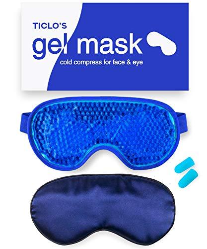 TICLOS Gel Eye Mask - Reusable Cooling Eye Mask Cold Compress For Puffy Eyes, Migraines, Headaches, Blepharitis, Pink Eye, Dark Circles, Dry Eye, Sinus, Allergy & Pain Relief - BONUS Silk Sleep Mask
