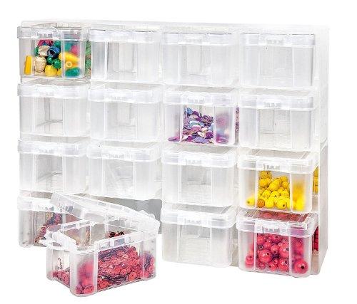 Sortierbox, Setzkasten, Organizer, Aufbewahrungsbox, 16 Container mit Deckel
