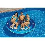 "84"" Solstice Inflatable Round Jumbo Island Swimming Pool Raft Lounger"