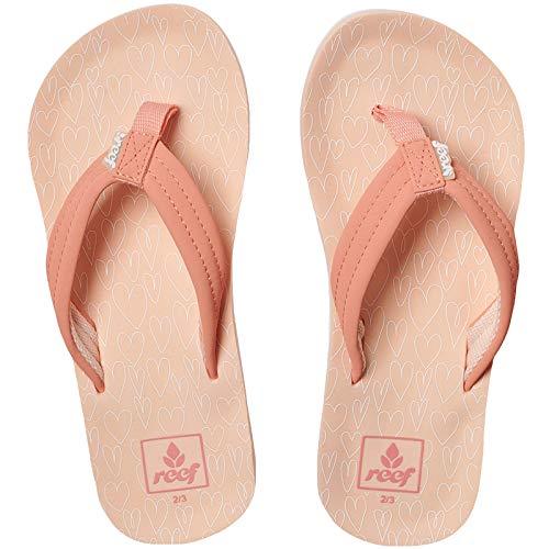 Reef Girls Ahi Kids Pool Beach Flip Flops Thongs Sandals - Coral Hearts- 6/7US