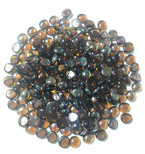 soldbbq 10-Pound 1/2 inch Glass Bead Decoration for Fireplace, Fire Pit (Amber Brown Luster)