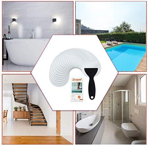 VANZAVANZU Bath Tub Stickers 24 PCS Non-Slip Bathroom Bathtub Shower Stickers Safety Treads Adhesive Decals with Scraper for Slippery Bathroom Tubs Shower Room Swimming Pool Floor Stairs Strips