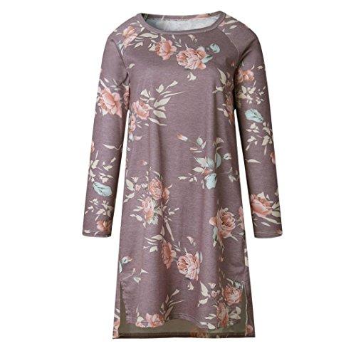 mujer manga de floral Púrpura larga impreso OverDose vestidos casual fiesta 5qxpaHwE