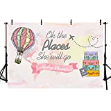 COMOPHOTO Oh The Places She Will Go Travel Baby Shower Background Photography Precious Cargo Backdrop Airplane Hot Air Balloon Party Decoration Photo Backdrops 7x5ft