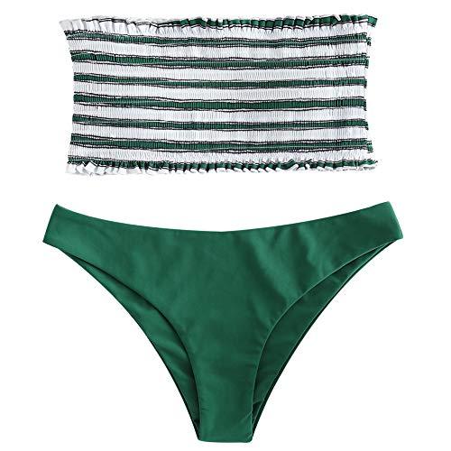 (ZAFUL Women's Strapless Striped Frilled Smocked Two Piece Bandeau Bikini Set (Green, L))