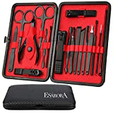 Manicure Set, ESARORA 18 In 1 Stainless Steel Professional Pedicure Kit Nail Scissors Grooming Kit with Black Leather Travel Case