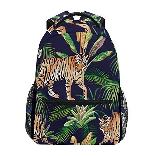 (ALAZA Tiger Jungle Animal Leaf Backpack Daypack College School Travel Shoulder Bag)