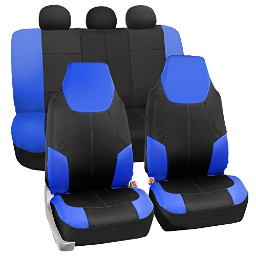 FH GROUP FB116115 Neo-Modern Neoprene Seat Covers, Airbag & Split Ready, Blue / Black Color -Fit Most Car, Truck, Suv, or Van - Classic Seat Covers
