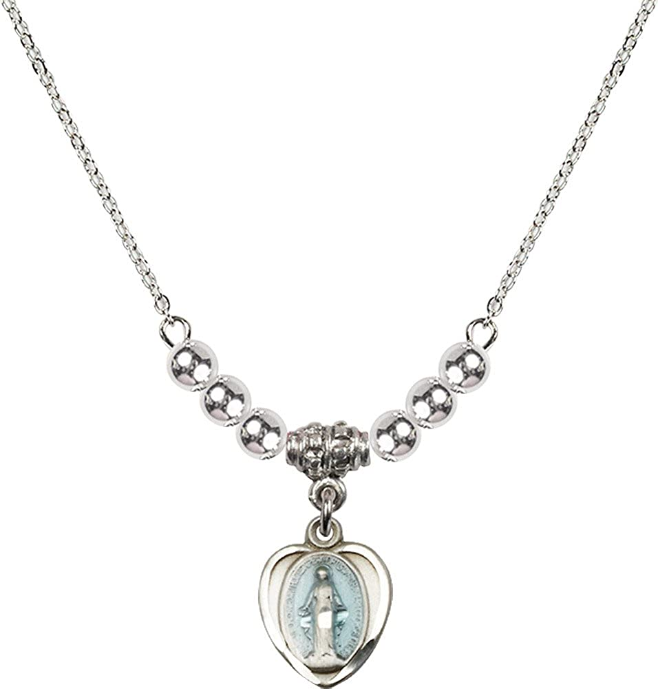18-Inch Rhodium Plated Necklace with 4mm Sterling Silver Beads and Sterling Silver Miraculous Charm.