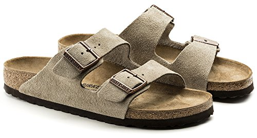 Birkenstock (Men's) Arizona Cork-Footbed Sandals Taupe Suede [New Style], 43 M EU / 10-10.5 B(M) US Men