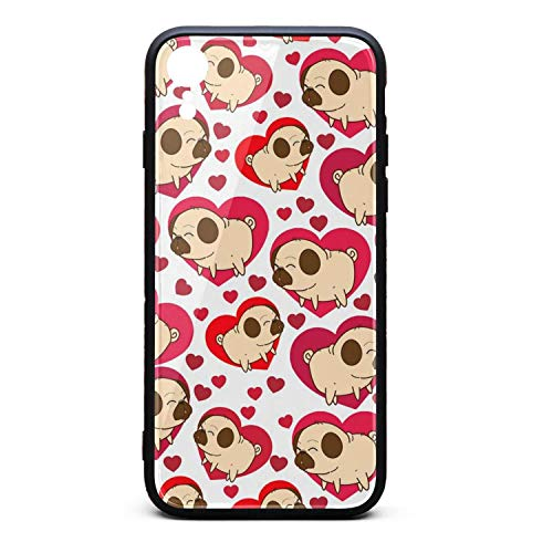 Pugs Heart Valentine's Compatible with iPhoneXr Cases Personalised Printted Skid-Proof iPhone Cover