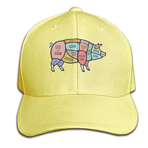 Men/Women Pig Cut Meat Set Outdoor Duck Tongue Hats Adjustable Classic Dad Hat Yellow