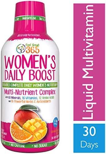 Women's Liquid Superfood Multivitamin by Feel Great 365 | Woman Vitamins with 60 Minerals, 16 Vitamins, 12 Amino Acids, 16 Herb & Antioxidants ● #1 Best Tasting Paleo Friendly Vitamin Blend