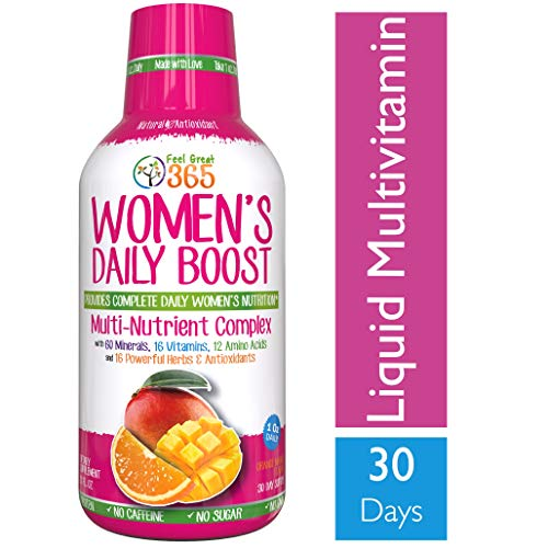 (Women's Liquid Superfood Multivitamin by Feel Great 365 | Woman Vitamins with 60 Minerals, 16 Vitamins, 12 Amino Acids, 16 Herb & Antioxidants ● #1 Best Tasting Paleo Friendly Vitamin Blend)