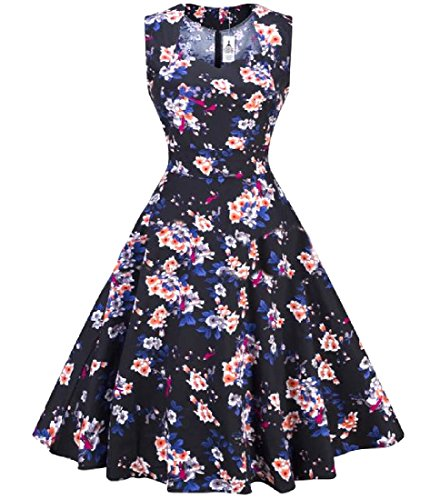 Slim Waist Pinup Sleeveless Floral Women Empire Dress As3 Fit Printed Coolred 5A0qwZA8
