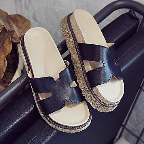 Verano Sandalias Zapatillas de mujer Zapatillas de mujer de moda Zapatillas de mujer de verano con suela gruesa Zapatillas de tacón alto Sandalias de cuña (2 colores disponibles) (Tamaño disponible) C Negro