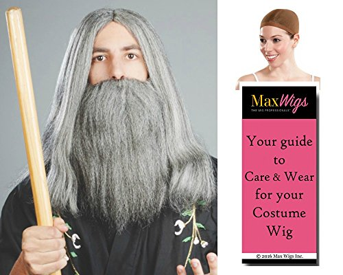 Wizard Moses Color Mixed Grey - Enigma Wigs Biblical Beard and Mustache Gandolf Lord of Rings Merlin Hillbilly Bundle with Cap, MaxWigs Costume Wig Care Guide -
