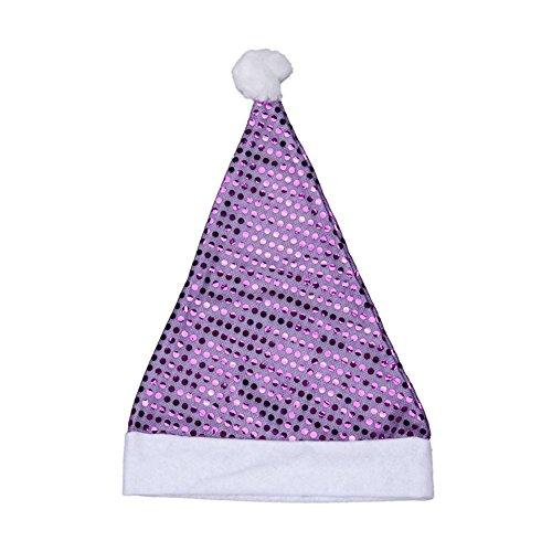Bess Bridal Chrismas Party Costume Sequins Santa Hat (Purple) (Santa Claus Cap)