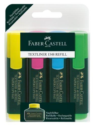 Faber-Castell 154804 - Textmarker TEXTLINER 48, 1 - 5 mm, 4er Etui, Inhalt: je 1x gelb, rosa, blau, grün