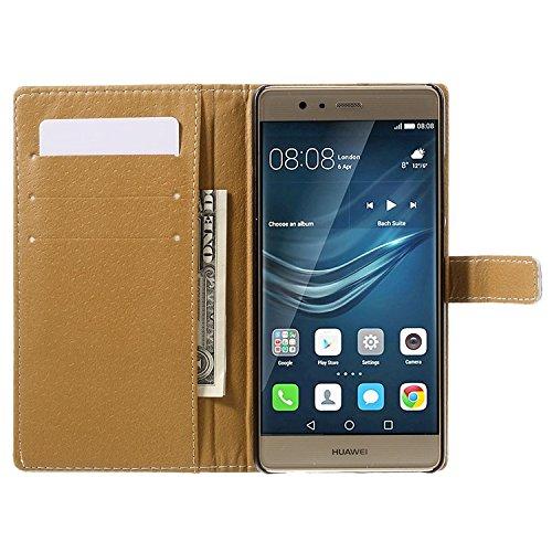 Vandot para Huawei P9 PU Funda Serie Bolsa Modelo Colorido con Bonito Hermoso Patrón de Impresión Dibujo Monedero de la Cartera de la Cubierta Móvil del Bolso del Teléfono Móvil del Proteja la piel co HSD 03