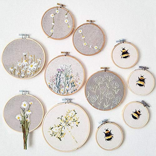 BigOtters 6PCS Embroidery Hoops, Bamboo Circle Cross Stitch Hoop Ring 4.7 Inches to 10.6 Inches for Christmas Ornaments Art Craft Handy Sewing DIY Favor
