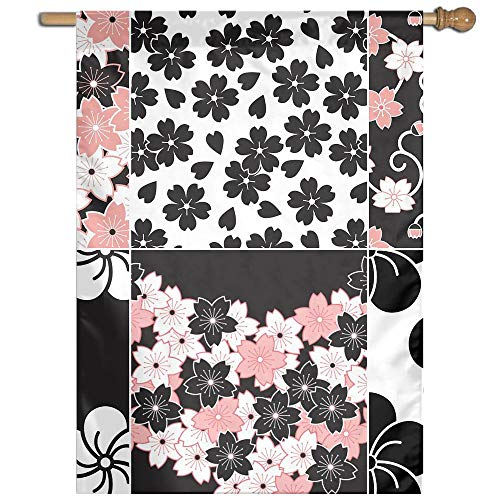 Garden Flag Sakura Flower Pattern Lawn Banner Outdoor Yard Home Flag Wall Decoration Flag 27 X 37 Inch
