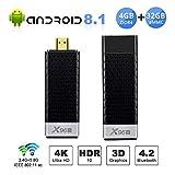 Android 8.1 TV Box, X96 S Android TV Mini Stick - 4GB RAM 32GB ROM Amlogic S905Y2 Quad-core Cortex-A53, Dual Band WiFi 2.4G+5G/Bluetooth 4.2/USB 3.0/H.265 3D 4K@75fps Smart Media Player OTT TV Dongle
