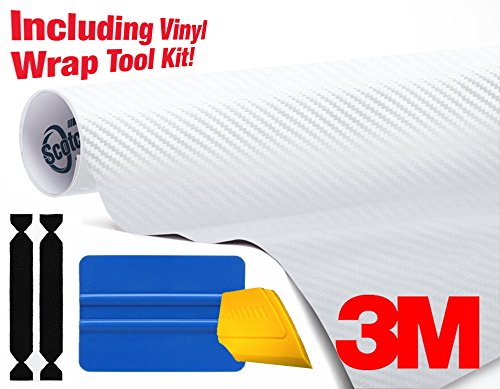 3M 1080 Carbon Fibre White Air-Release Vinyl Wrap Roll Including Toolkit (2ft x 5ft) ()