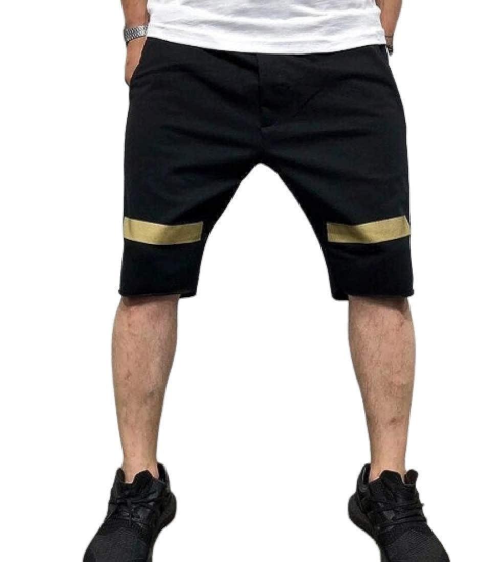 YYG Men Elastic Waist Basic Hip-hop Color Block Cotton Workout Shorts
