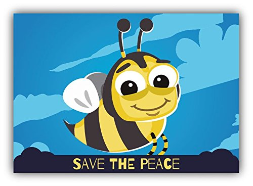 save-the-peace-bee-cartoon-animal-greenpeace-slogan-sticker-decal-design-5-x-4