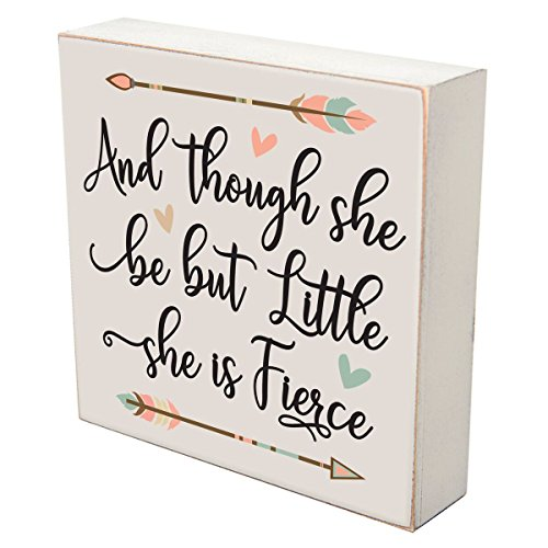 [해외]Uplifting Cross Plaque Christening Gifts Custom Wall Cross Decoration May Jesus Live Within Your Heart (4.5x6 체리) / LifeSong Milestones and Though she be but Little she is Fierce Wall Art Decor Print Sign Decoration 6x 6 (and Tho...