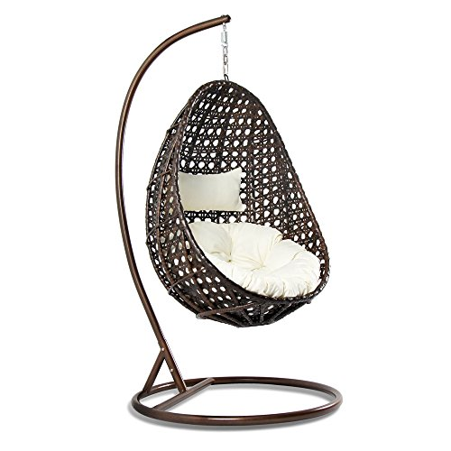 Outdoor Wicker Hanging Egg Chair, Island Gale Patio Swinging Chair with Stand and Cushion for indoor and outdoor - with Head Pillow for Extra Comfort, Mix Brown, White (Outdoor Wicker Egg Chair)