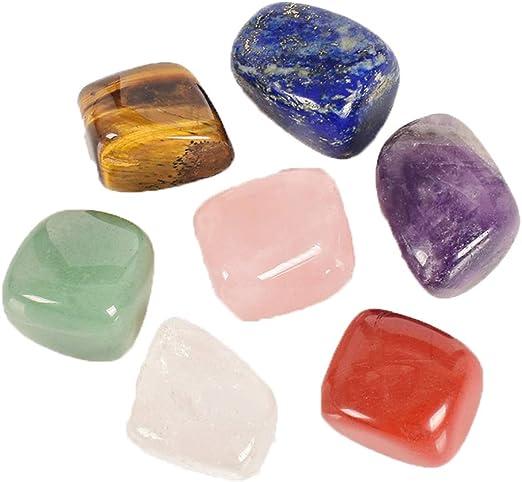 Juego de 7 piezas de piedras de colores para decoración de jardín de casa, piedras naturales de reiki, piedras preciosas de curación: Amazon.es: Hogar
