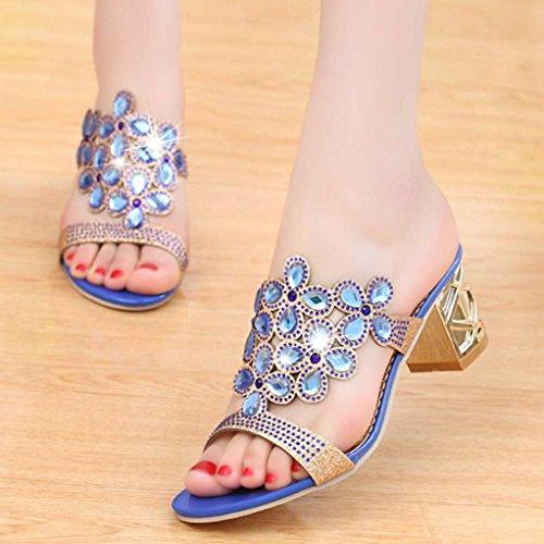 Malloom® Wort Mode Strass Bold Ferse Hausschuhe Frauen Sommermode Flip Flops High Heel Sandalen Fett Mädchen Strass Schuhe Blau