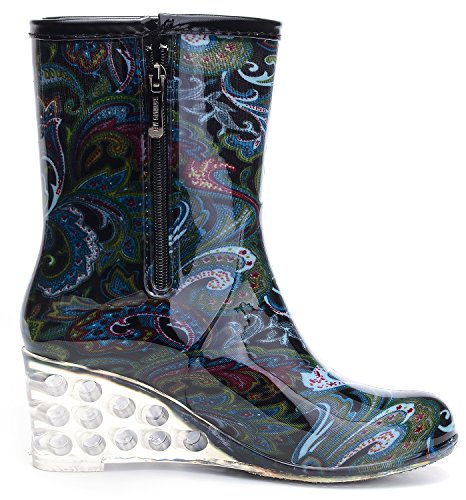Boots Waterproof Shoes Short ODEMA Rain Bluephoenix Mid Calf Rubber Women's Wedge Bq0cZg6xw