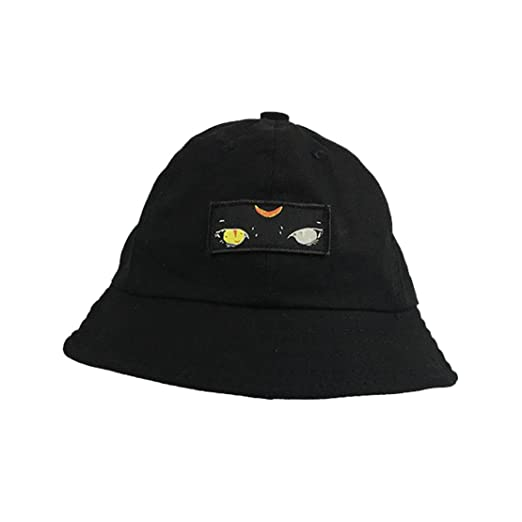 ACVIP Women Cartoon Monster Embroidery Foldable Sun Protection Casual Bucket  Hat (Black) 487d2686e8a