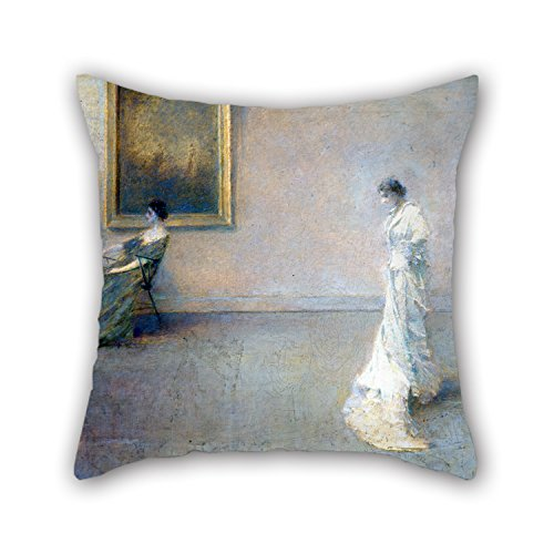 Artistdecor Throw Christmas Pillow Case 16 X 16 Inches / 40 By 40 Cm(two Sides) Nice Choice For Outdoor Kids Relatives Car Seat Gf Deck Chair Oil Painting Thomas Wilmer Dewing - The White Dress