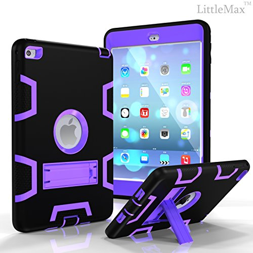 iPad Mini 4 Case,LittleMax(TM) [Kickstand] 3 in 1 Defender Solid Case [Anti-slip Armor] Protective Back Case Cover for Apple iPad Mini 4 [Free Cleaning Cloth,Stylus Pen]-02 Black Purple ()