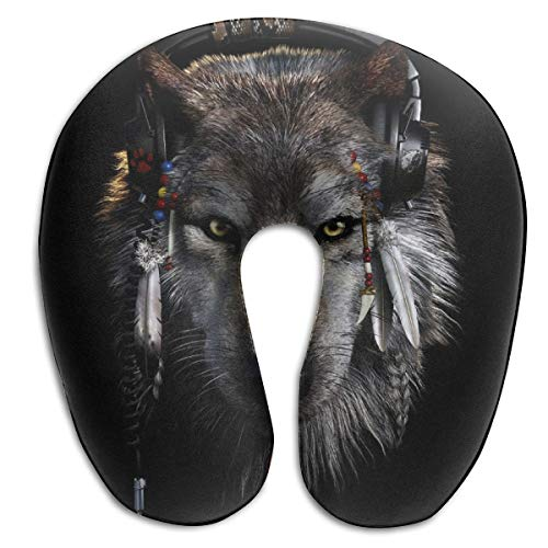 Werewolf Foam - BRECKSUCH Werewolf with Headphones Print U Type Pillow Memory Foam Neck Pillow for Travel and Relief Neck Pain Fashion Super Soft Cervical Pillows with Resilient Material Relex Pollow