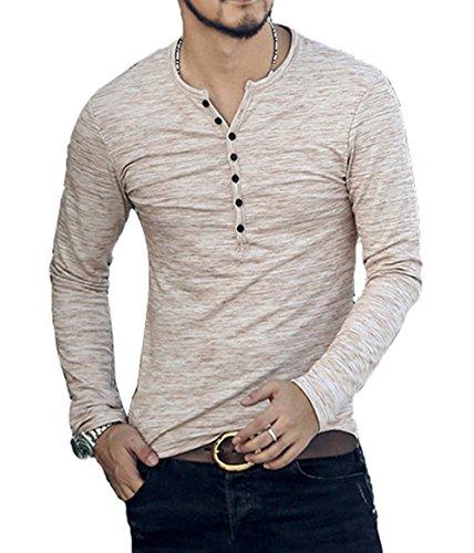 CLANMILUMS Men's Casual Slim Fit Henley Shirt Lightweight Long Sleeve T-Shirt (Medium, Beige)