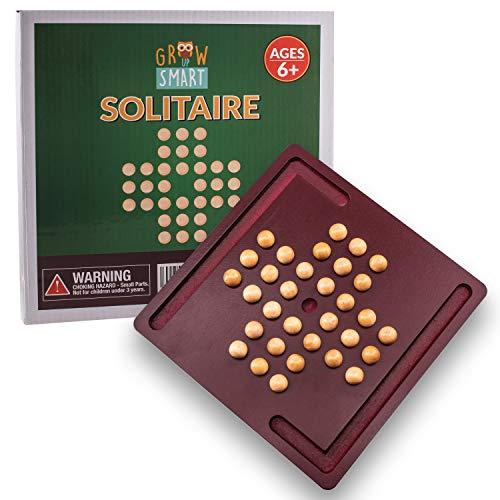 Peg Solitaire Game by GrowUpSmart | Hi-Q, Brainvita, Solo Noble Brainteaser Puzzle | Wood Travel Set