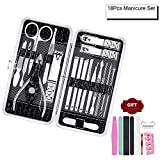Gindoly Manicure kits, Professional nail kit, Pedicure Kit, Nail Clippers, Stainless steel clippers, nail grooming kit, Nail cutter Tools Gifts for women men, Set of 18