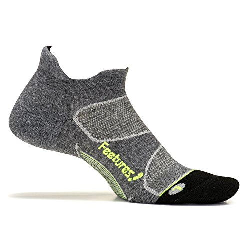 Price comparison product image Feetures! Men's Elite Max Cushion No Show Tab, Heather Gray + Reflector, Large